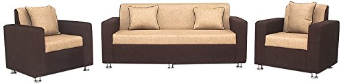 Bharat Lifestyle Tulip Five Seater Sofa Set 3-1-1 (Brown)