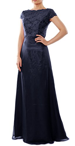 MACloth Elegant Cap Sleeve Long Bridesmaid Dress Wedding Party Gown with Jacket Dark Navy