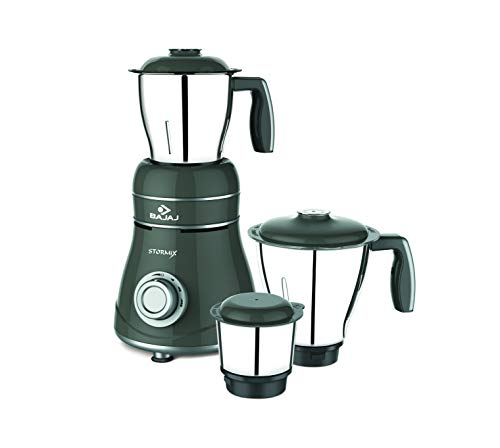 Bajaj Stormix 750-Watt Mixer Grinder with 3 Jars (Silver and grey)