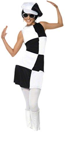 Halloweenia - Damen Karo 60er Jahre Kostüm mit Hut, M, -