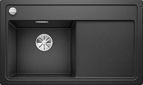 Blanco Zenar 45 S, Küchenspüle aus Silgranit PuraDur; Becken links, Anthrazit-schwarz / mit InFino-Ablaufsystem, inkl. Esche-Compound-Schneidbrett und Ablauffernbedienung; 523840 (Für über Schneidbretter Waschbecken Dem)