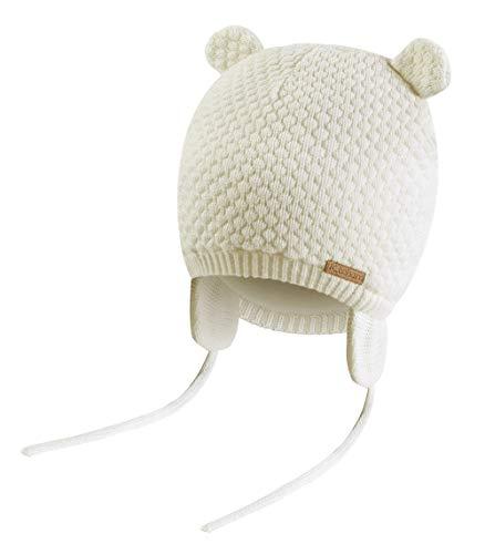 K.tchard Baby Jungen Mädchen Mütze Beanie Strickmütze Cap Kinder Wintermütze Cute Bear Hut, Gr.-3-7 Monate(36cm-41cm)/ Etikettengröße - Small ,Weiß