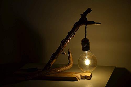 Treibholz tischlampe hölzerne schreibtischlampe Holzlampe natürlich bajour rustikal holz lamp abat jour