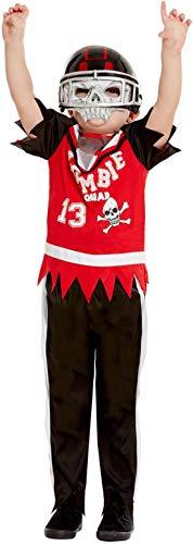Kinder High School Football Spieler Zombie Kostüm, Hose Oberteil und Maske, perfekt für Halloween Karneval und Fasching, 104-116, Rot ()
