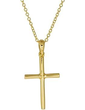 aion Collier Massiv Gold 585 Gold Kette mit Anhänger Kreuz Gelbgold 14K Halskette 45 - 50 cm