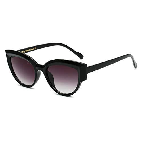 Yiph-Sunglass Sonnenbrillen Mode UV-Schutz Dunkle Linse Outdoor Fahren Reisen Lady Cat Eyes Sonnenbrille (Farbe : Bright Black Frame)