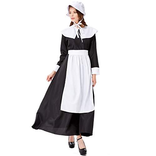 KiyomiQvQ Damen Dienstmädchen Mädchen Maid Kostüm Einteiliges Kellnerin Kleid Uniform Oktoberfest Sets mit Schürze und Haarreif Vintage Trachtenkleid Männerkostüm Cosplay Bierfest Kleidung Babydoll (Kellnerin Kostüm Kinder)
