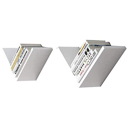 Willesego Schwimmende Regale , Wandmontiertes 2-er Set Holz rechtwinkliger Rahmen Abstellregale Schlafzimmer Büro Ständer , 3 Farben (Farbe: GRÜN) (Farbe : Weiß, Größe : -)