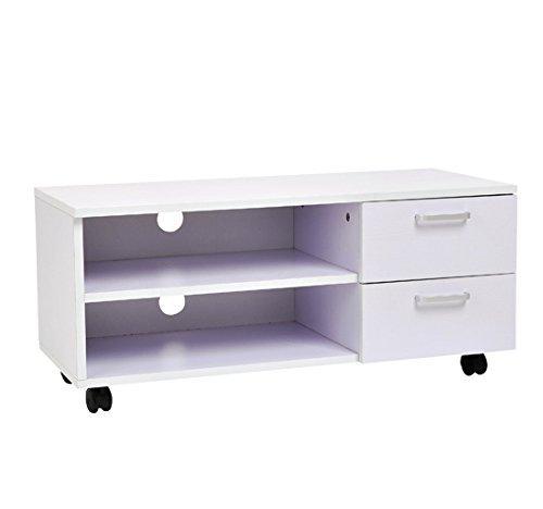 Homcom - Armario móvil mueble de tv mesa tele dvd madera con rueda cajones