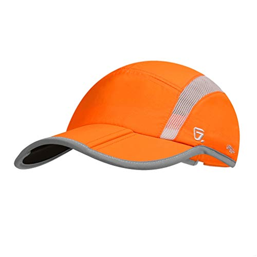 GADIEMENSS Quick Dry Sports Hat Lightweight Breathable Soft Outdoor Running Cap (Folding series, Orange) -