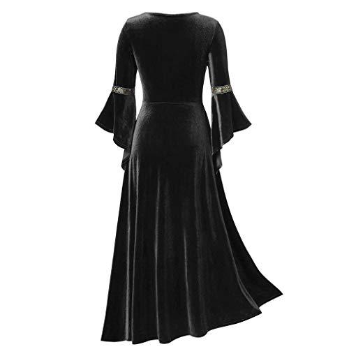 Saingace(TM) Damen Happy Halloween Cocktailkleid,Frauen Plus Size Cool Patchwork Bandage Langarm Robe Langes Kleid
