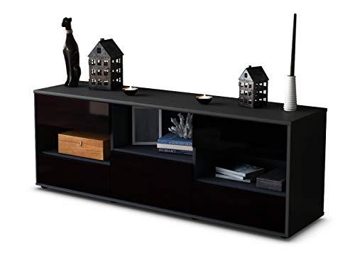 TV Schrank Lowboard Annunziata, Korpus in anthrazit matt / Front im Hochglanz Design Schwarz (135x49x35cm), mit Push to Open Technik und hochwertigen Leichtlaufschienen, Made in Germany