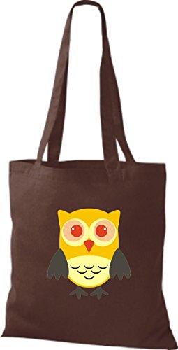 braun Tragetasche streifen ShirtInStyle Stoffbeutel diverse Karos Eule Owl niedliche gelb Farbe Punkte Retro Jute mit Bunte RxqCH4xS