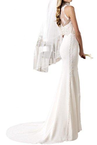 Gorgeous Bride 2017 Neu Etui Meerjungfrau Chiffon Spitze Abendkleider Lang Brautkleider Hochzeitskleider Blau