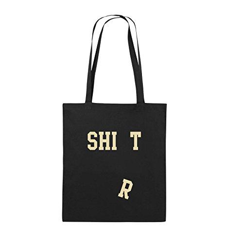 Comedy Bags - SHIRT - FALLENDES R - Jutebeutel - lange Henkel - 38x42cm - Farbe: Schwarz / Silber Schwarz / Beige