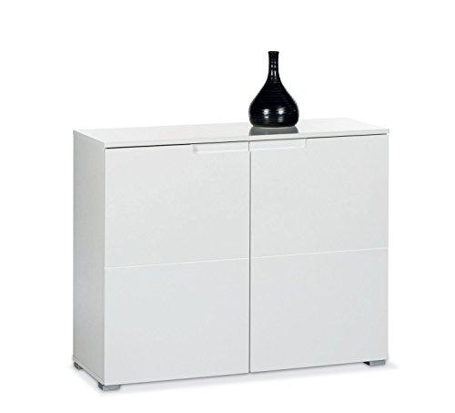 Kommode SABIA, Weiß Hochglanz, 2 Türen, 100x80x40 cm