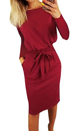 Ajpguot Damen Freizeit Kleid mit Gürtel Elegant Rundhals Midi Kleider Blusenkleider Ballkleid Festkleid Frauen Langarm Tasche Wickelkleider Abendkleider Partykleid, Rotwein, M