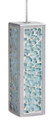 Silver Grey Mosaic Glass Light Pull & Cord Aqua Blue by SIL