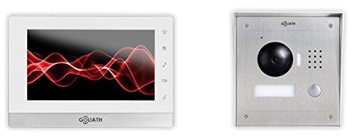 Goliath IP Video Türsprechanlage, Aufputz Türstation, Edelstahl, HD Kamera, App mit Türöffner Funktion, 1.3 Megapixel, Video-Speicher, 1 Familienhaus Set, AV-VTC05 (Nur Sprechen, Touch-screen Handy)