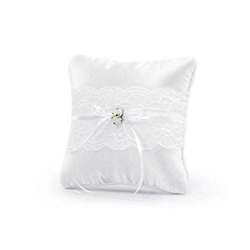 Simplydeko Ringkissen zur Hochzeit | Trauringkissen in Weiß, Vintage oder Ivory (Weiß)