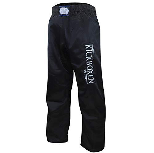 """BAY®® \""""EDEL STICK Kickboxhose, Größe 150, komplett schwarz, gestickte Schrift KICKBOXEN, Thaiboxhose lang, Hose Kick-Boxen Thaiboxen Muay Thai, Satinhose, black"""