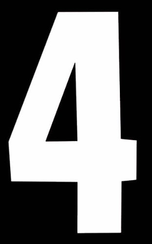 Multi Purpose numéro '4'auto-adhésif Blanc