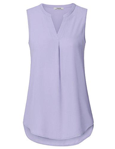 Youtalia Sommer Oberteile Frauen, Damen Elegant Ärmellos Chiffon Bluse Quality Urlaub Kleidung Schick Gekrümmter Saum Weste Tops Lavendelviolett L