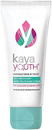 Kaya Youth Oxy-Infusion Face Scrub, Instantly clear and Bright skin,Removes dead skin cells,With Walnut and Vi
