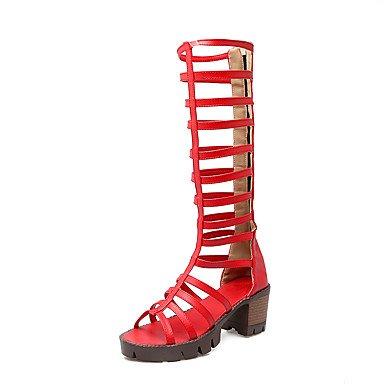 LvYuan Da donna-Sandali-Formale Casual-Altro-Quadrato-PU (Poliuretano)-Nero Rosso Bianco Marrone chiaro Red