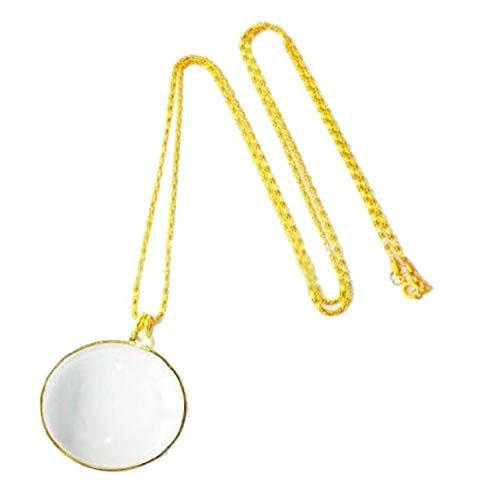 Vektenxi 10X Vergrößerung Lupe Halskette Portable Pocket Reading Lupe Halskette Anhänger Gold Lupen kreativ und nützlich -