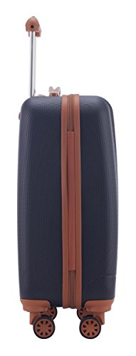 HAUPTSTADTKOFFER - Wannsee - Handgepäck Hartschalen-Koffer Trolley Rollkoffer Reisekoffer, TSA, 58 cm, 37 Liter, Dunkelblau/Braun - 3
