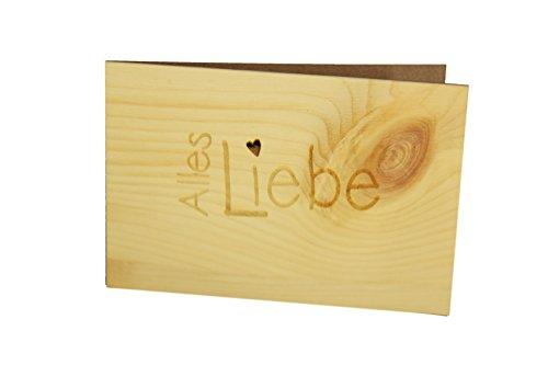 Holzgrußkarte - ALLES LIEBE - 100% handmade in Österreich - Postkarte, Geschenkkarte, Grußkarte, Klappkarte, Karte, Einladung, Holzart:Zirbe