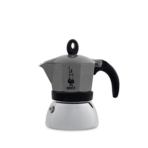 Bialetti moka induction, caffettiera 3 tazze, antracite