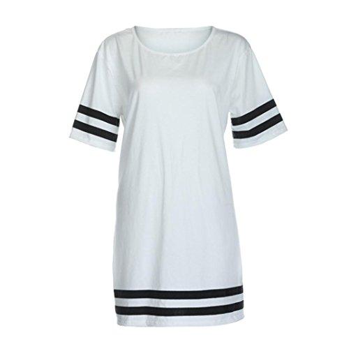 Damen Shirt Kurzarm Ronamick Mode Frauen Tops Damen Streifen Baggy Oversized Top Cap Sleeve Pullover T-Shirts (Weiß, S) (Womens Sleeve Wahl Cap T-shirt)