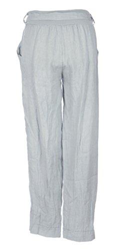 Texture Online, pantaloni leggings da donna, stile italiano Lagenlook, 3 bottoni in legno, cintura e tasca, taglia unica Light Blue