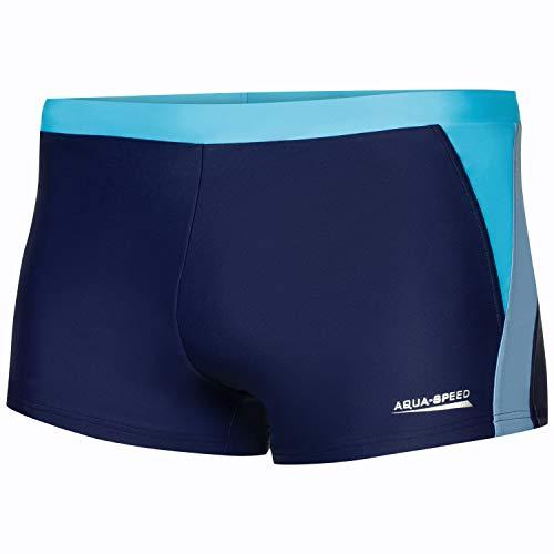 Aqua Speed Herren Badehose | Schwimmhose | S-XXXL | Modern | Vita Gewebe UV-Schutz | Chlor resistent | Kordelzug | Muskelkontrolle, Größe:L, Farbe:Navy/l.Blue/Blue - 423