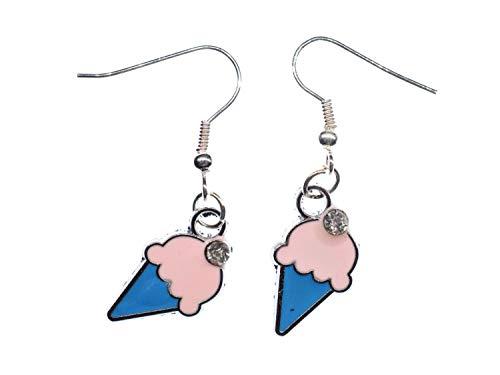 Eis Waffeleis Ohrringe Hänger Miniblings Eiscreme Strass Dessert Sommer blau Blau, Dessert
