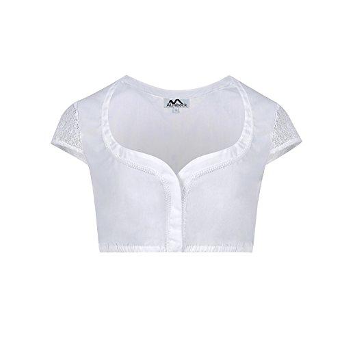 ALMBOCK Dirndlbluse weiß | Dirndl-Blusen in vielen verschiedenen Modellen | Gr. 34-44 (36, Weiß | Modell Silka)