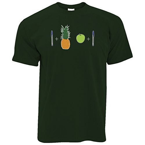 Tim And Ted Pen Ananas Apple-Pen Lustiges Lied Hand Drawn Printed Entwurf Meme Herren T-Shirt (Herren Grn Apple)