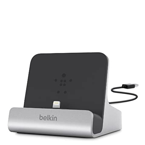Belkin Express Charge and Sync Desktop Lightning Dock for iPad 2017/iPad Pro 9.7 inch/iPad Air 2/iPad Air/iPad Mini/iPhone 7/7 Plus/SE/5/5s/5c/6/6s/6 Plus/6s Plus and Airpods (MFI Approved) - Aluminium