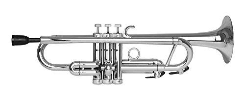 Classic Cantabile Tromba ABS plástico trompeta (11,6mm orificio, válvula de monel, peso solo 550g, incluye 2trozos boca, funda, soporte y set de limpieza) Plata
