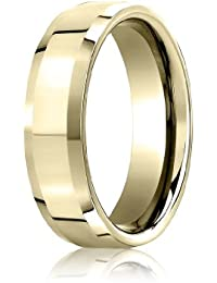 18ct Yellow Gold, 6mm Comfort-Fit High Polished Carved Band (sz H to Z5)