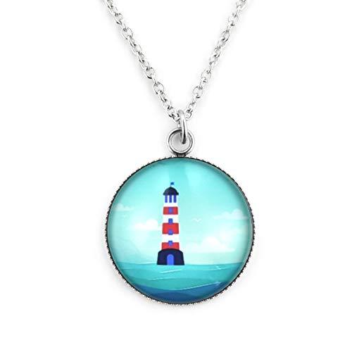 SCHMUCKZUCKER Damen Kette mit Anhänger Motiv Leuchtturm Maritime Edelstahl Halskette Silber Türkis Großer Anhänger (25mm) - Lange Kette (70cm) -