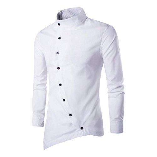 Beauty top camicia uomo maglietta irregolare camicie slim fit elegante manica lunga t-shirt top beautytop (bianca, m)