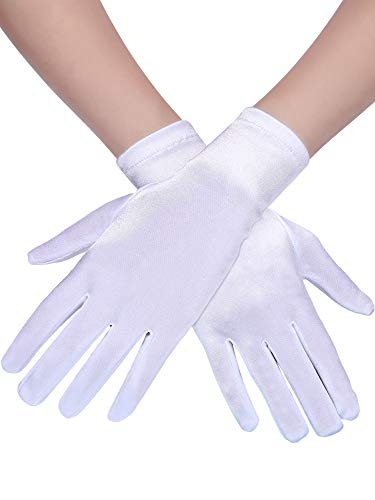 3 Paar Damen Kurze Satin Handschuhe Handgelenk Länge Handschuhe Kleid Handschuhe Opera Handschuhe für Party ()