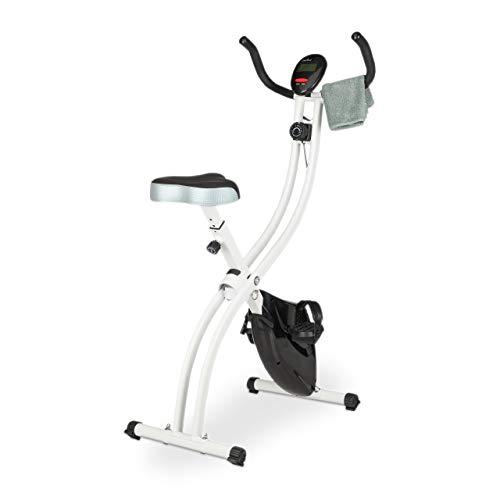 relaxdays Heimtrainer Fahrrad, 120 kg, platzsparend klappbar, Display, Magnetbremse, 8 Stufen, Fahrradtrainer, schwarz