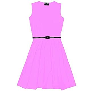 A2Z 4 Kids Girls Skater Dress with Free Belt,  Baby Pink, 9-10 Years