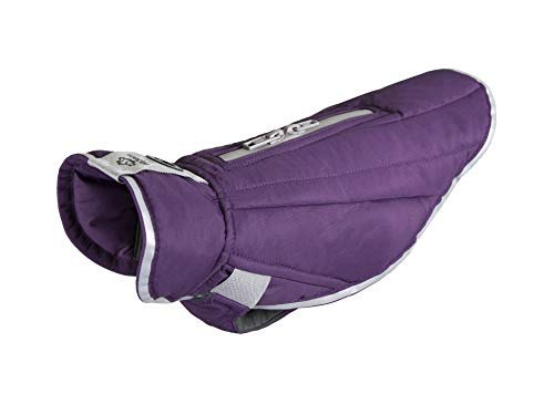 RC Pet Products Hundemantel, gesteppt, Nimbus Puffer, 20, Plum Purple/Grey Plum-zebra