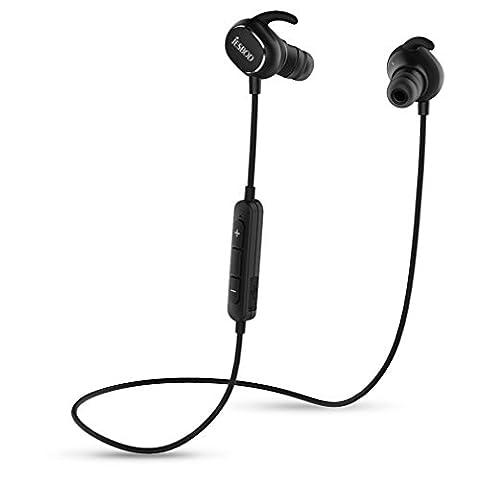 JESBOD QY19 Bluetooth Kopfhörer 4.1 Wireless Sport Headset Stereo Ohrhörer Schweißfänger In-Ear Earbuds mit Mikrofon / Apt-X für iOS und Android Handys iPad Laptops Tablets (Schwarz)