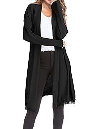JackenLOVE Printemps Automne Femmes Long Cardigan avec Frange Casual  Couleur Unie Tops Gilets Outwear Blouses Mode 4d581a7a6255